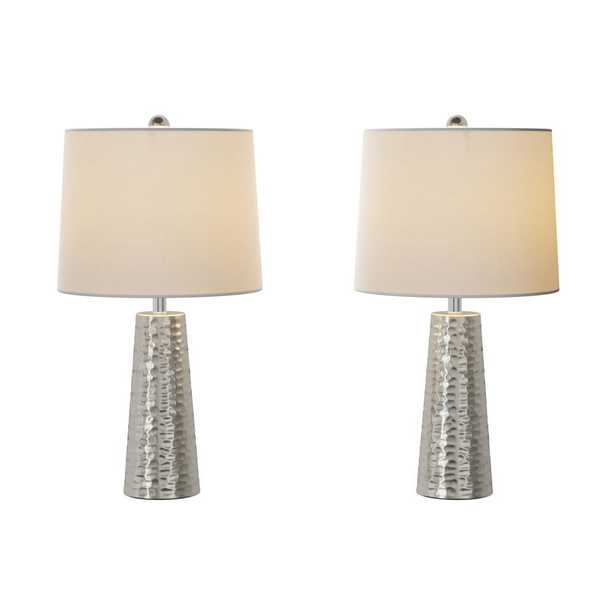 Lavish Home 26 in. Hammered Metal Table Lamp (Set of 2) - Home Depot