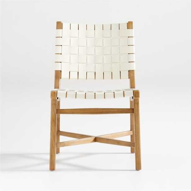 Taj White Leather Strap Side Chair - Crate and Barrel