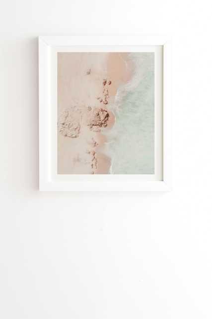 "Beach Pink Champagne by Ingrid Beddoes - Framed Wall Art Basic White 11"" x 13"" - Wander Print Co."