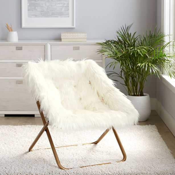 Himalayan Faux-Fur Square Hang-A-Round Chair, Ivory/White - Pottery Barn Teen
