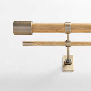 "Mid-Century Rod, Double Rod Oak/Antique Brass, 44""-108"" - West Elm"