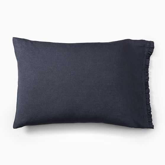 European Flax Linen Ruffle King Pillowcases, Set of 2, Iron Blue - West Elm