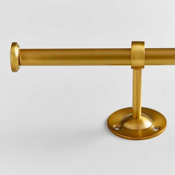 "Classic Steel Curtain Rod, .75, 28""-48"" Single, Brass - West Elm"