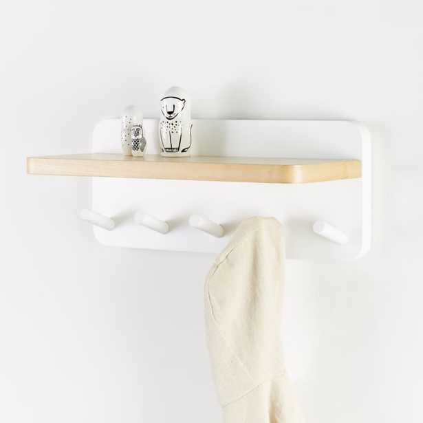 White and Natural Wood Shelf With Hooks - Crate and Barrel