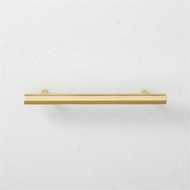 """Hex Polished Brass Handle 5"""" - CB2"""