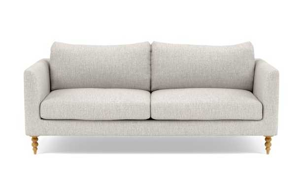 Owens Loveseats with Beige Wheat Fabric, standard down blend cushions, and Natural Oak legs - Interior Define