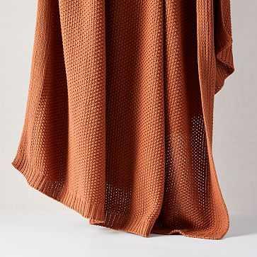 "Cotton Knit Throw, 50""x60"", Copper Rust - West Elm"