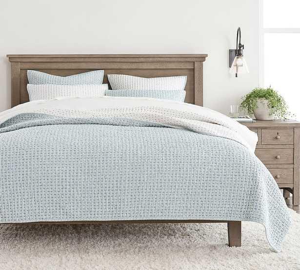 Chambray Pickstitch Wheaton Reversible Cotton/Linen Quilt, King/Cal. King - Pottery Barn