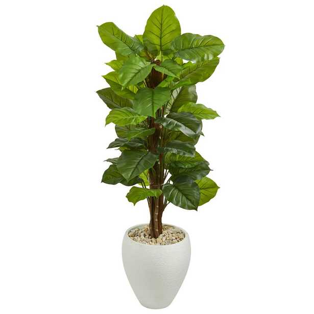 Real Touch 5 ft. Indoor Large Leaf Philodendron Artificial Plant in White Oval Planter - Home Depot