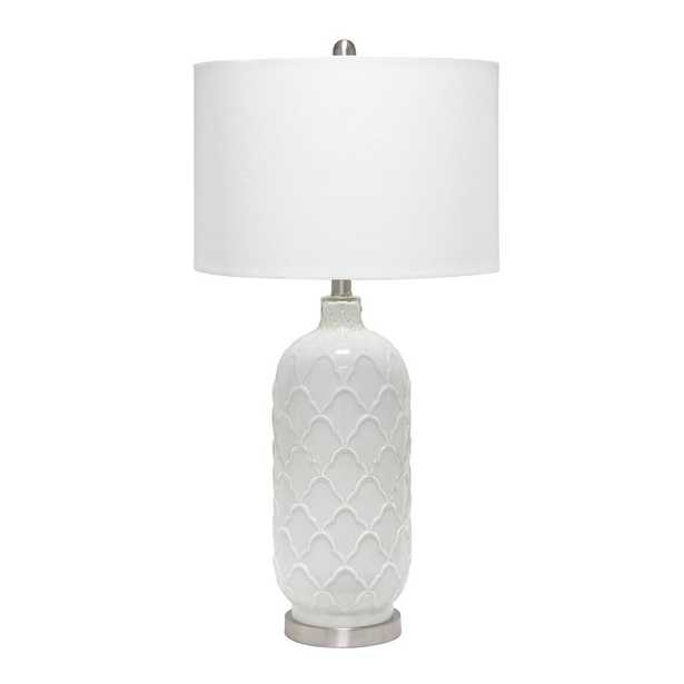 Lalia Home 29.25 inch Argyle Classic White Table Lamp with Fabric Shade - Home Depot
