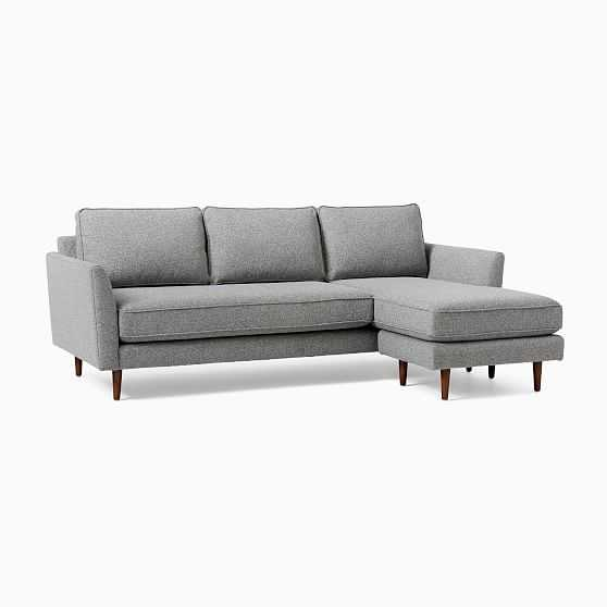 Margot Flip Sectional, Poly, Chenille Tweed, Irongate, Pecan - West Elm
