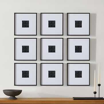 Metal Gallery Frame Square, Black Powder Coated, 12X12 in Set of 9 - West Elm