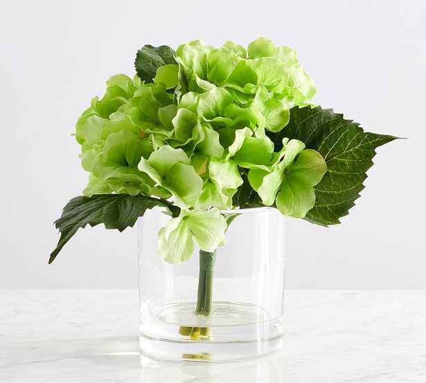 """Faux Green Hydrangea Flower Arrangement, 10.5""""H - Pottery Barn"""