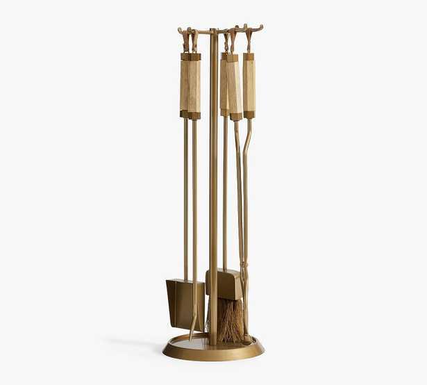 Vail 5-Piece Fireplace Tool Set, Brass - Pottery Barn