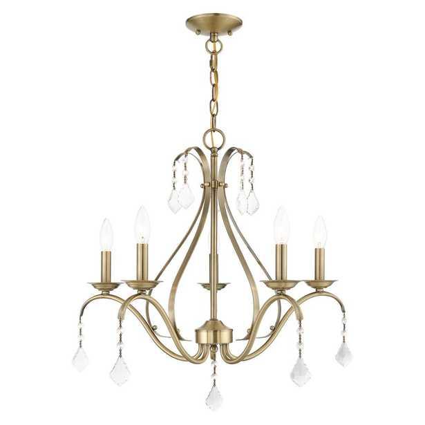 Livex Lighting Caterina 5-Light Antique Brass Crystal Chandelier - Home Depot