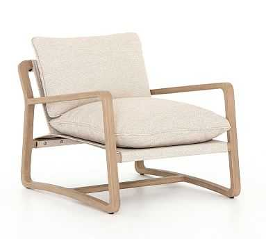 Laika Teak Outdoor Lounge Chair, Sand & Brown - Pottery Barn