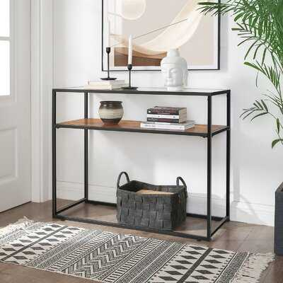 17 Stories GLATAL Console Table, Tempered Glass Top And Sturdy Steel Frame, Easy Assembly, For Living Room Hallway Entrance, Industrial, Rustic Brown And Black 356A91336D034EB7BEB4D05EE8EA4930 - Wayfair