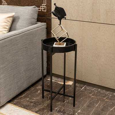 Everly Quinn Round Side End Tables, Metal Small Sofa Table With Cross Base - Wayfair