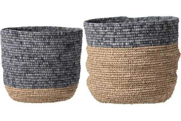 Natural Seagrass Baskets, Tan & Gray, Set of 2 - Moss & Wilder