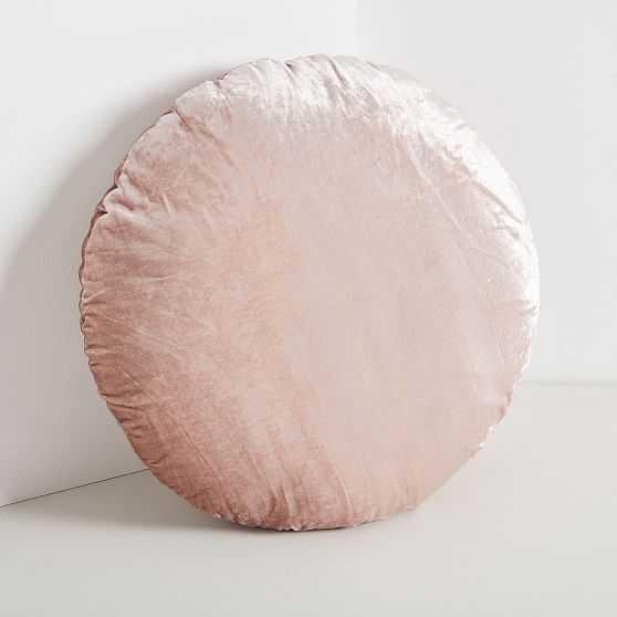 Round Lush Velvet Pillow, Dusty Blush - West Elm