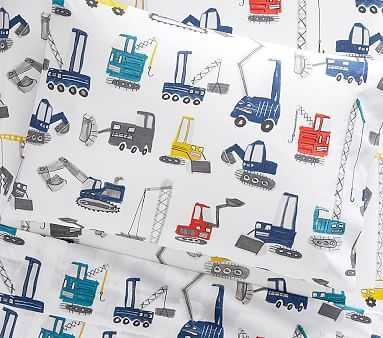 Organic Jax Construction Toddler Sheet Set, Pillow Case, Multi - Pottery Barn Kids