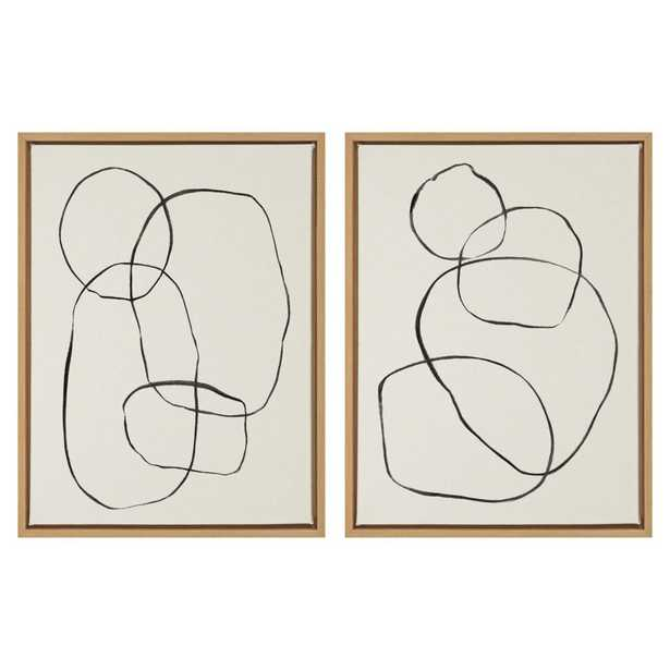 """Sylvie """"Modern Circles"""" by Teju Reval of Snazzyhues 24 in. x 18 in. Framed Canvas Wall Art Set - Home Depot"""