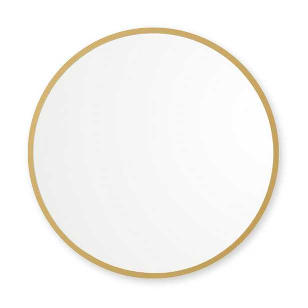 Better Bevel 30 in. x 30 in. Rubber Framed Round Mirror in Matte Gold - Home Depot