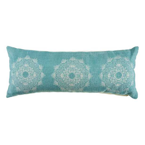 LR Home 14 in. x 36 in. Ornate Teal Tri Medallion Rectangle Cotton Standard Throw Pillow, Teal / Cream - Home Depot
