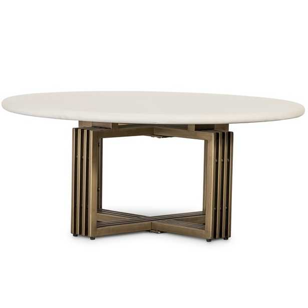 Arabella Modern Classic White Concrete Top Metal Round Coffee Table - Kathy Kuo Home
