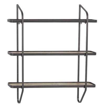 "Large Rectangular Silver Metal And Wood 3-Tier Wall Shelf, 32"" X 33.5"" - Wayfair"