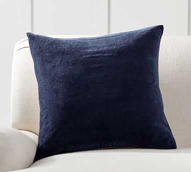 """Velvet w/ Linen Pillow Cover, 20"""", Twilight - Pottery Barn"""