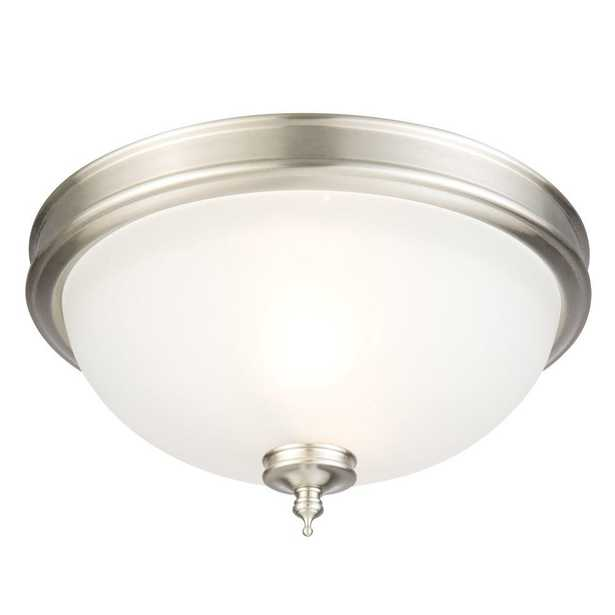 Hampton Bay 13 in. 2-Light Brushed Nickel Flush Mount with Frosted Glass Shade - Home Depot