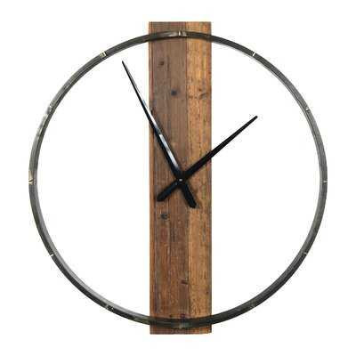 29.5 Inch Metal And Wood Wall Clock - Wayfair