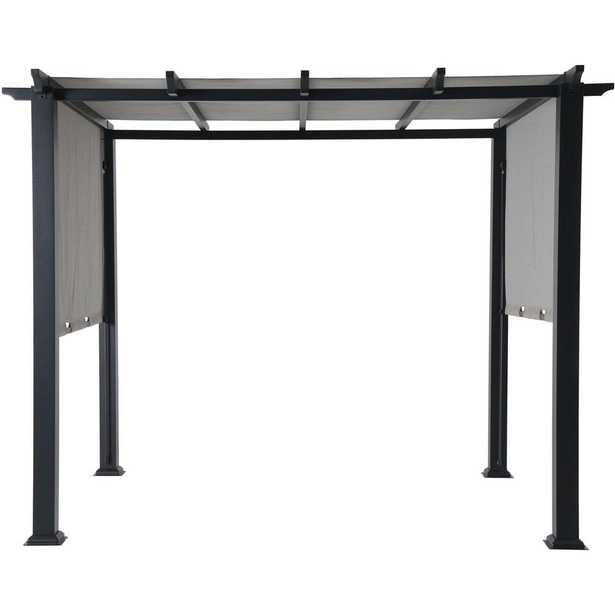 8 ft. x 10 ft. Metal Pergola with an Adjustable Gray Canopy, Grays - Home Depot