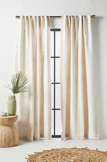 """Maiko Jacquard-Woven Curtain By Anthropologie in White Size 50"""" X 96"""" - Anthropologie"""
