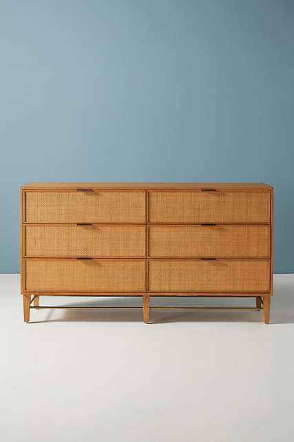 Wallace Cane and Oak Six-Drawer Dresser By Anthropologie in Beige - Anthropologie