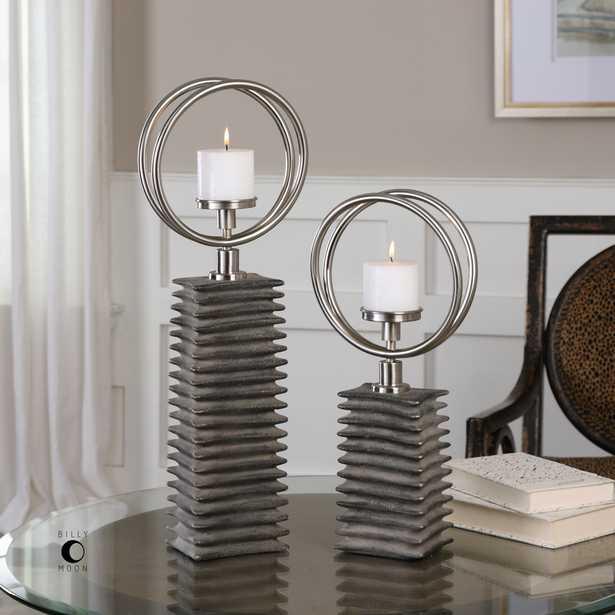 Eugenio Black Ceramic Candleholders, Set Of 2 - Hudsonhill Foundry