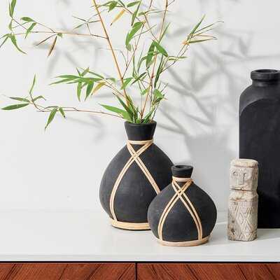 2 Piece Terracotta Matte Finish Vase Set W/ Raffia Wrap Detail - Wayfair