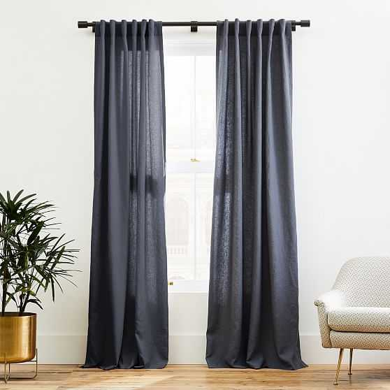 "European Flax Linen Curtain, Graphite, 48""x84"" - West Elm"
