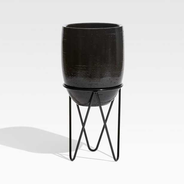 Jacinta Large Black Planter - Crate and Barrel