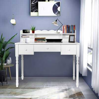 White Writing Desk With Detachable Hutch& 5 Drawers,Modern Computer Workstation For Home Office,Vanity Table - Wayfair