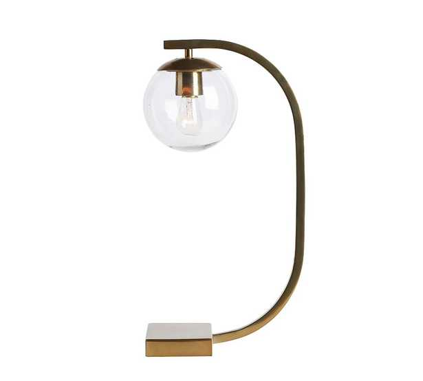 Lexington USB Task Table Lamp, Antique Brass - Pottery Barn