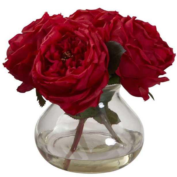 Fancy Rose with Vase - Home Depot