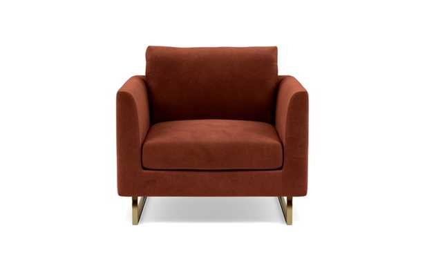 Owens Accent Chair with Red Rust Fabric, standard down blend cushions, and Matte Brass legs - Interior Define