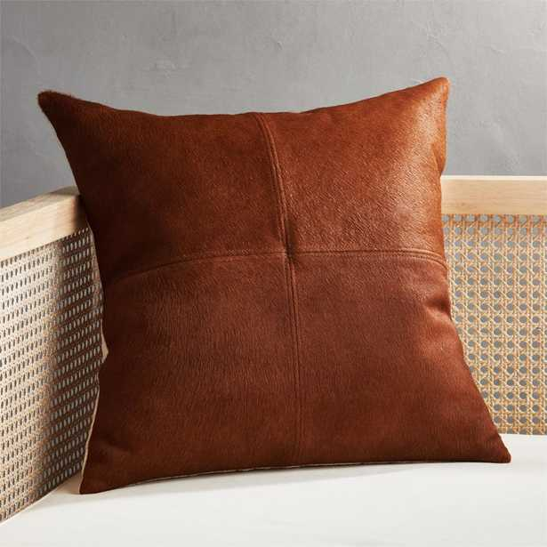 """18"""" Light Brown Cowhide Pillow with Down-Alternative Insert - CB2"""