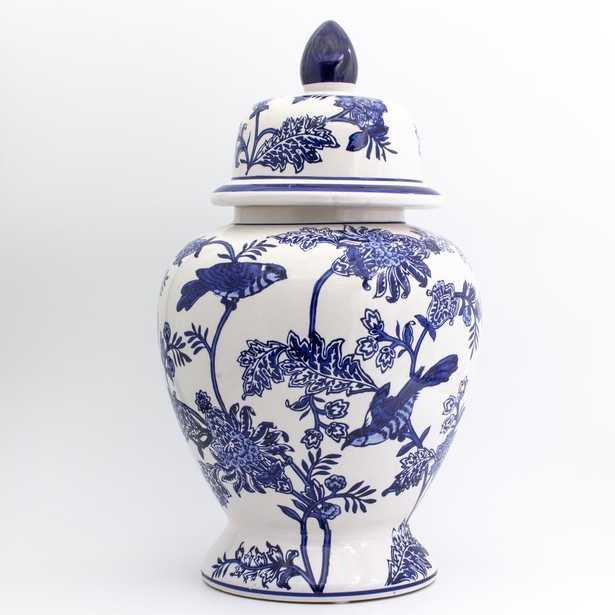 Claybarn Usa Blue Garden Bird and Blossom Ginger Jar, Multi-Color - Home Depot