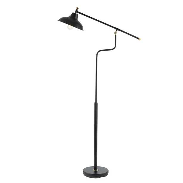 Globe Electric Carlton 63 in. Matte Black Floor Lamp with Antique Brass Accents - Home Depot