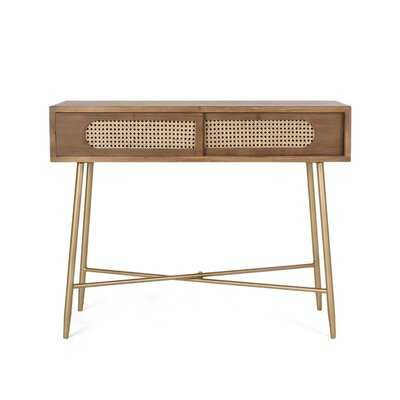 Hyvonen Rattan And Wood Console Table - Wayfair