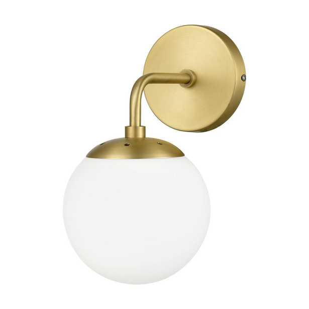 Light Society Zeno Globe Brushed Brass Wall Sconce with White Shade - Home Depot