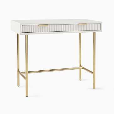 Quinn Mini Desk, Haze, Antique Brass - West Elm